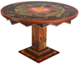 Sticks handmade dining table with lovely landscape and grapevine motif