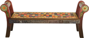 "Rolled Arm Bench –  ""Tell your Story"" rolled arm bench with colorful checkered square motif"