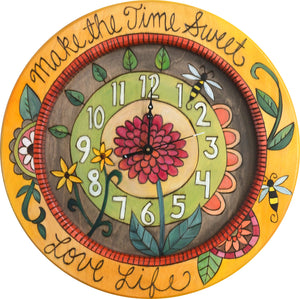 "14"" Round Wall Clock –  Bright and cheery nature and garden themed wall clock"
