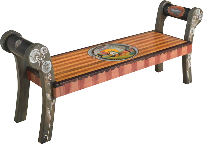 Rolled Arm Bench –  Rolled arm bench with sun and moon over a home on the rolling hill motif