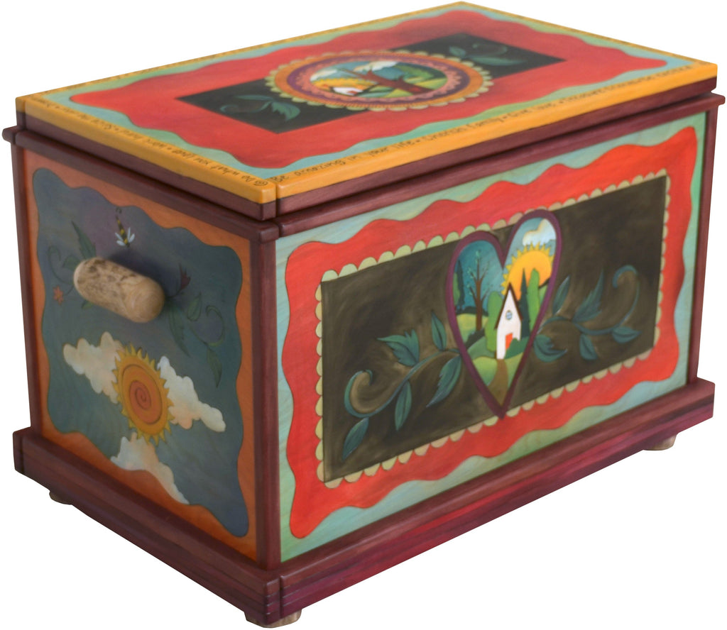 Chest –  Beautiful handcrafted storage chest with sun and moon and heart home motifs