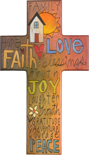 Cross Plaque –  Faith/Love/Joy cross plaque with home and sun motif