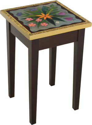 Small Square End Table –  Elegant end table with lovely floral motif and inspirational phrases along the border