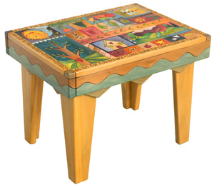 Rectangular End Table –  Lovely colorful block icons and patterns end table with tree of life and other symbols