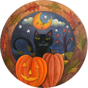 "Sticks Handmade 20""D lazy susan with Halloween scene, black cat and carved pumpkins"