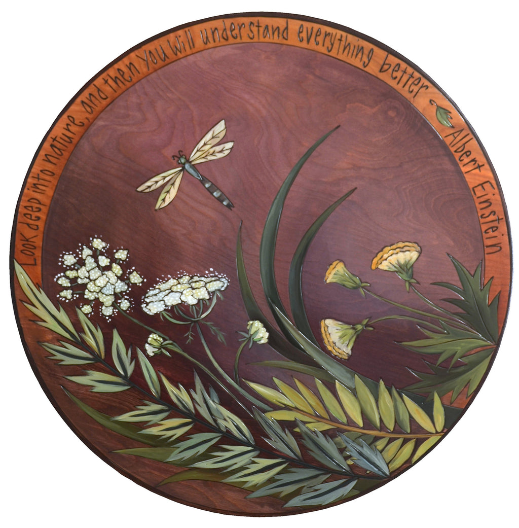 "Sticks Handmade 20""D lazy susan with queen anne's lace, dragon fly and albert einstein nature quote"