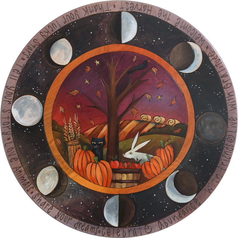 "Sticks Handmade 20""D lazy susan with fall harvest and moon phase design"
