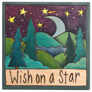 "Sticks handmade wall plaque with ""Wish on a Star"" quote and moon landscape motif"