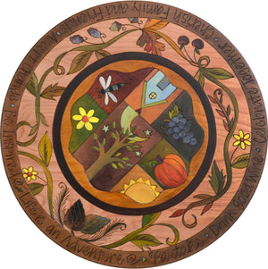 "Sticks Handmade 20""D lazy susan with autumnal vines and patchwork quilt design"