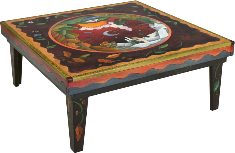 Sticks handmade coffee table with four seasons motif