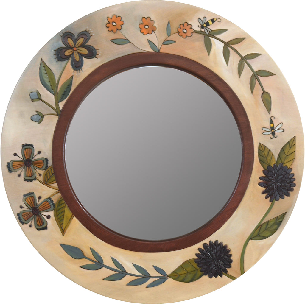 Small Circle Mirror –  Elegant and neutral round mirror with lovely floral motifs