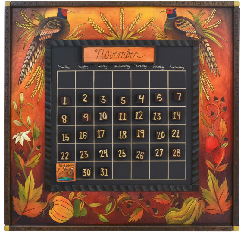 "Large Perpetual Calendar –  ""The Secret to Life is Enjoying the Passage of Time"" perpetual calendar with fall harvest-themed motif"