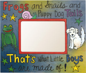 "Sticks handmade 5x7"" picture frame with little boy design"