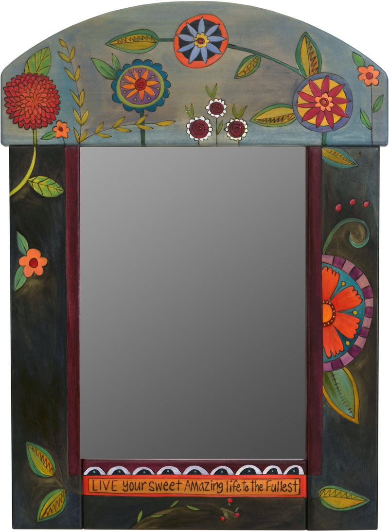 Medium Mirror –  Mirror with dark blue background and floral motif