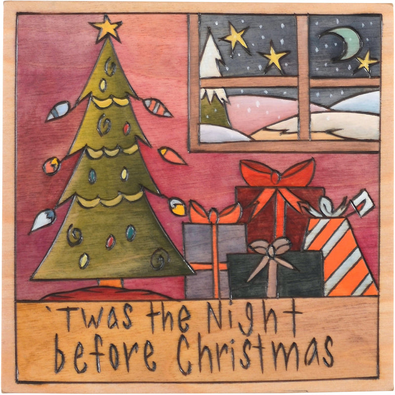 "Sticks handmade wall plaque with ""Twas the Night before Christmas"" quote and Christmas tree imagery"