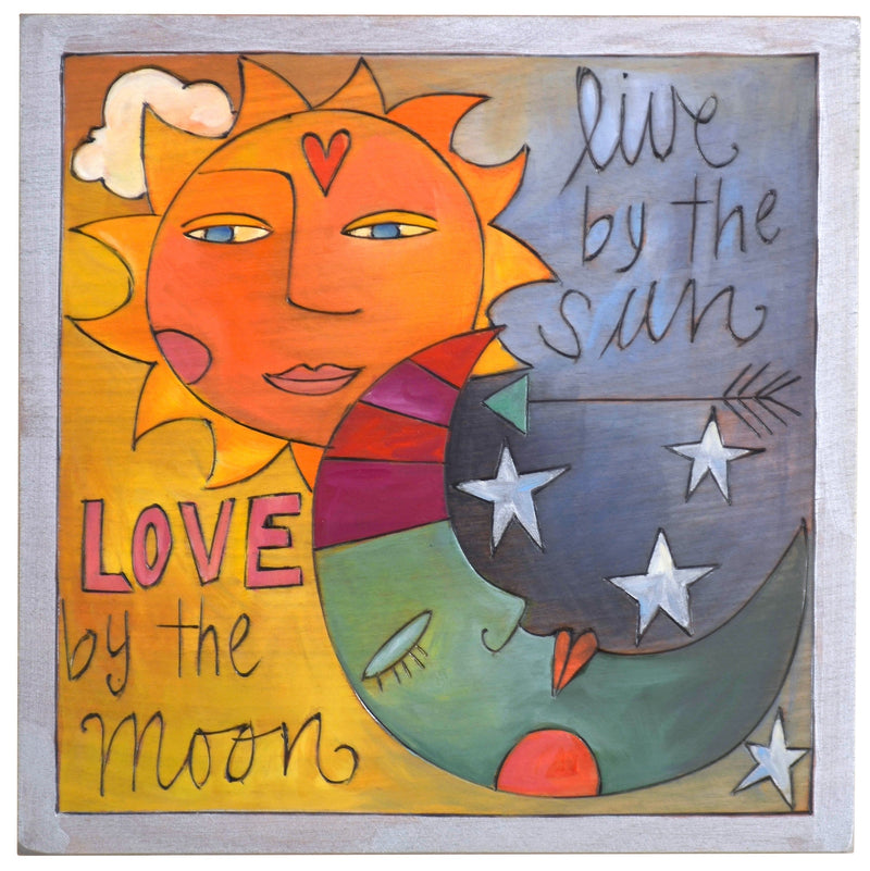 "Sticks handmade wall plaque with ""Live by the Sun, Love by the Moon"" quote and imagery"
