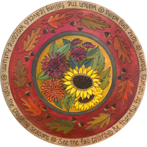 "Sticks Handmade 20""D lazy susan with sunflower bouquet and oak leaf border"