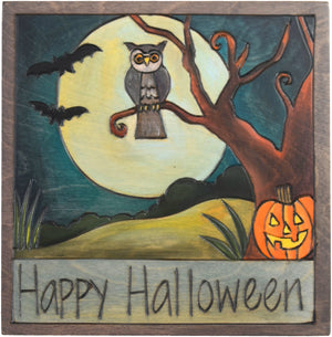 "7""x7"" Plaque –  Spooky ""Happy Halloween"" plaque motif"