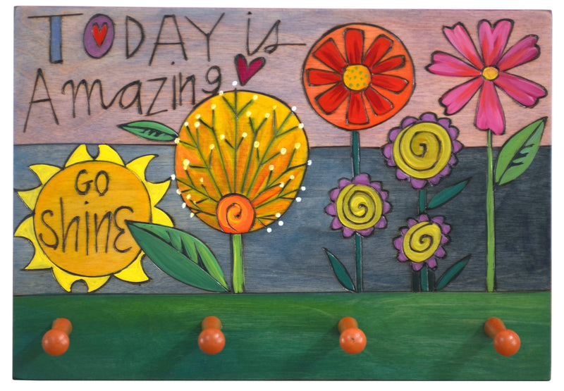 "Horizontal Key Ring Plaque –  ""Today is Amazing, Go Shine"" key ring plaque with floral motifs"