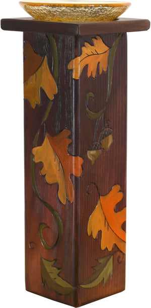 Large Pillar Candle Holder –  Falling leaves motif in warm fall tones