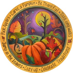 "18"" Round Tray –  Autumn themed landscape motif tray in vibrant oranges and purple"