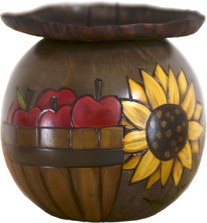 Ball Candle Holder –  Fall apple and pumpkin harvest motif