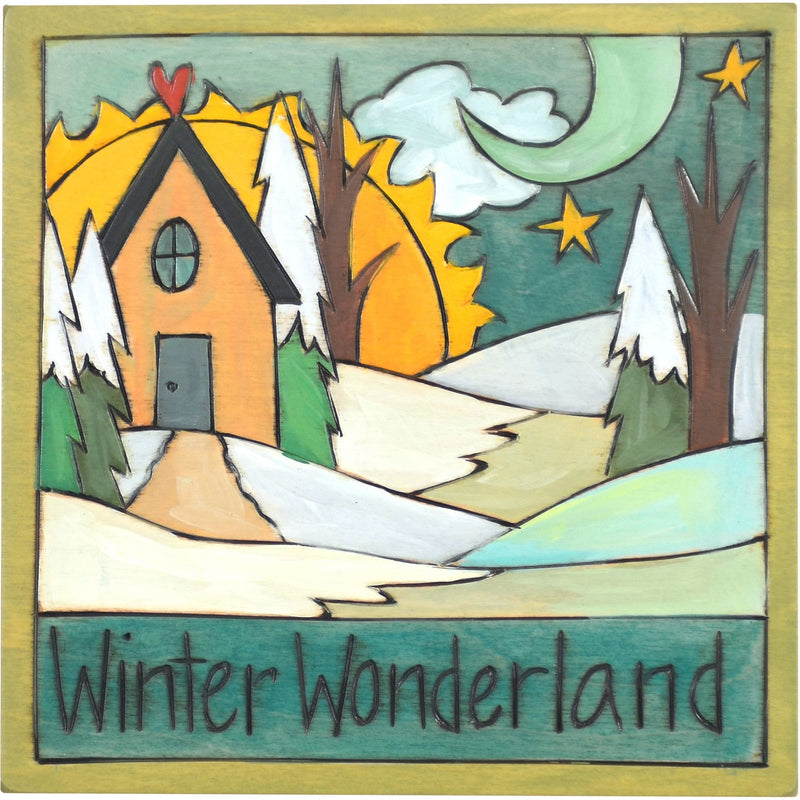 "Sticks handmade wall plaque with ""Winter Wonderland"" quote and snowy winter landscape"