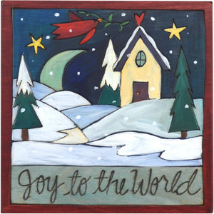 "Sticks handmade wall plaque with ""Joy to the World"" quote and snowy, winter landscape"