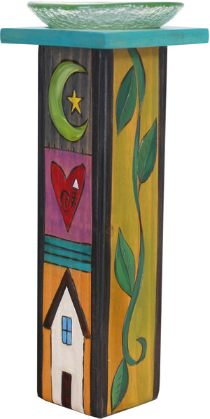 Large Pillar Candle Holder –  Colorful candle holder with vine motifs and block icons