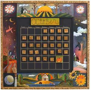 Large Perpetual Calendar –  Rich and playful calendar with four seasons landscapes and floral motifs