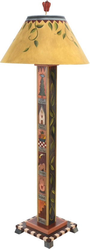 Box Floor Lamp –  Elegant and neutral color palette floor lamp with block icons and vine motifs