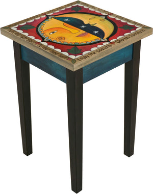 Small Square End Table –  Lovely square end table with sun and moon motif