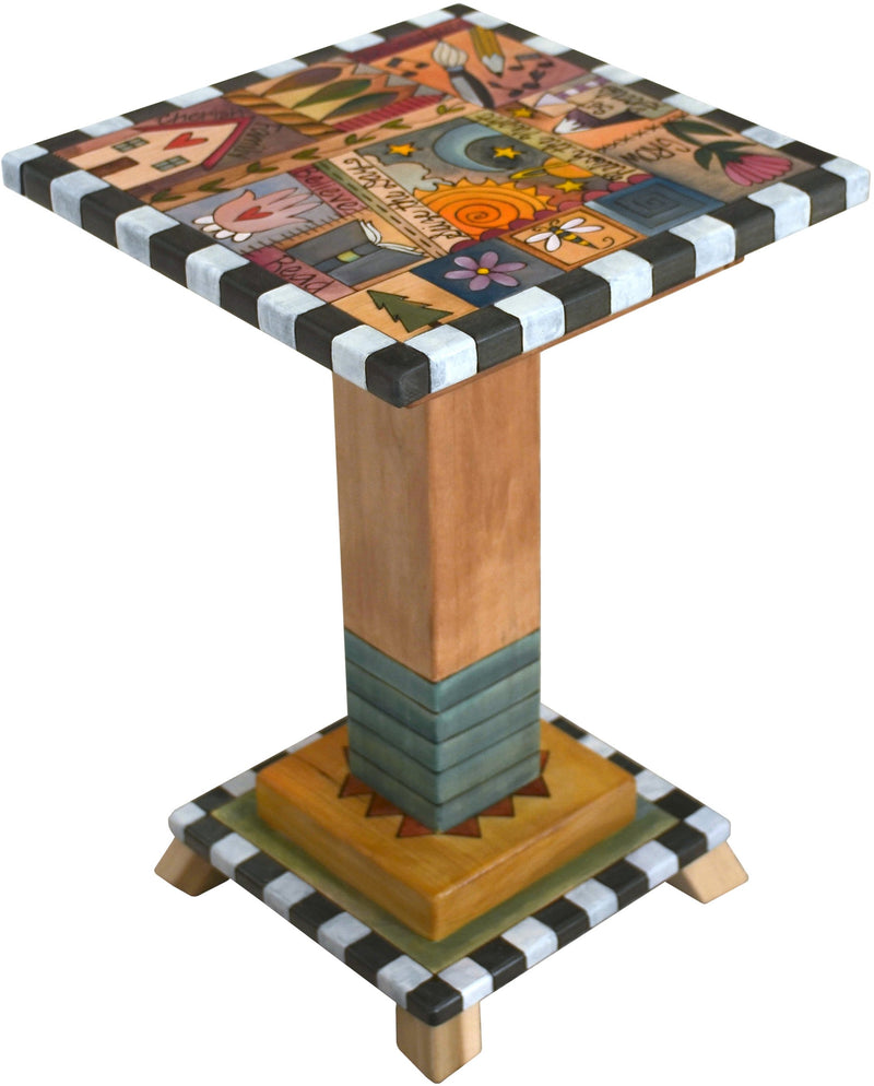 Martini End Table –  Eclectic folk art table with colorful block icons and patterns