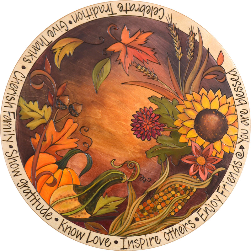 "Sticks Handmade 20""D lazy susan with fall and autumn harvest motif in rich hues"