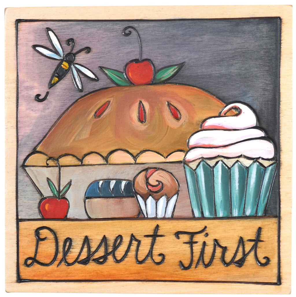 "Sticks handmade wall plaque with ""Dessert First"" quote and theme"