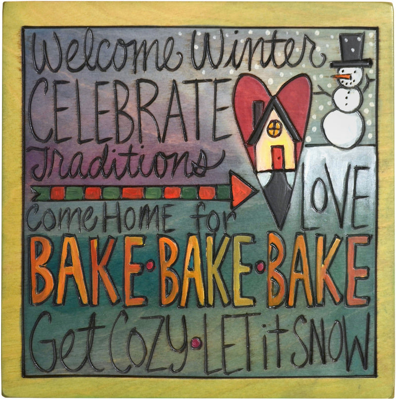 "Sticks handmade wall plaque with ""Welcome Winter, Celebrate Traditions, Come home for Love, Bake, Get Cozy, and Let it Snow"" quotes with snowman and heart home"