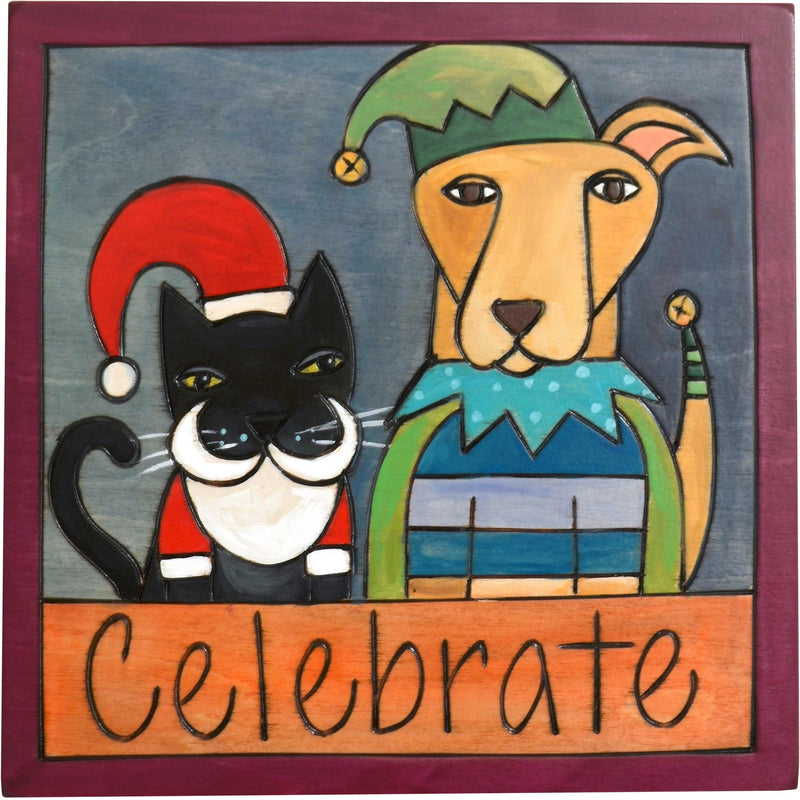 "7""x7"" Plaque –  ""Celebrate"" plaque with Christmas cat and dog motif"