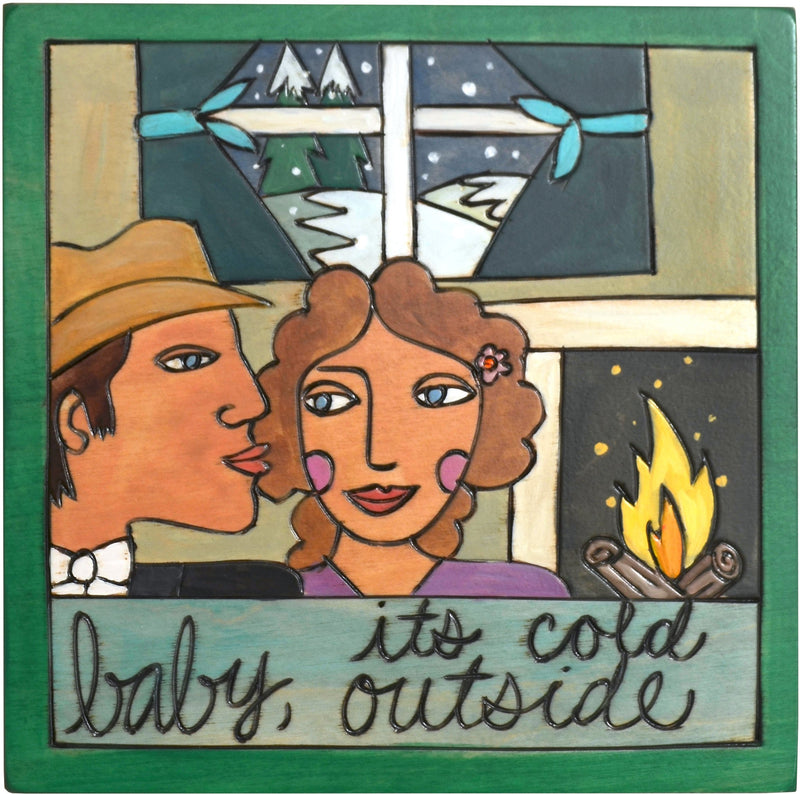 "7""x7"" Plaque –  ""Baby, it's Cold Outside"" plaque with man and woman by the fire motif"