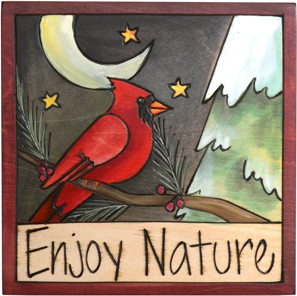 "7""x7"" Plaque –  ""Enjoy Nature"" plaque with cardinal sitting under the moonlight motif"