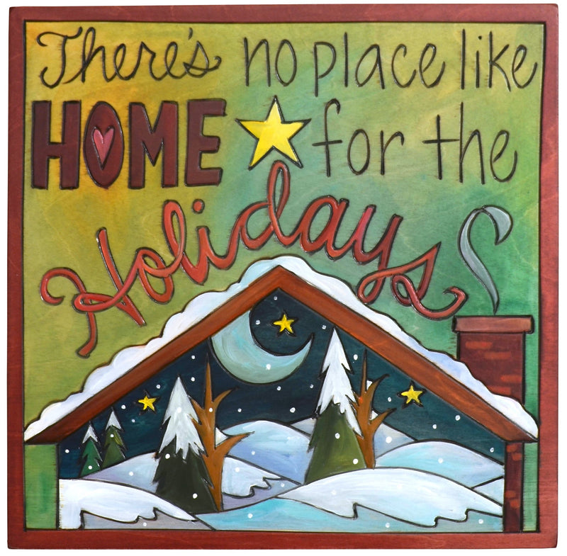 "Sticks handmade wall plaque with ""There's no place like home for the holidays"" quote and snowy winter landscape"