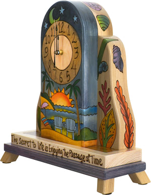 Mantel Clock –  Folk art mantel clock with coastal themes