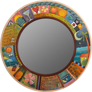Large Circle Mirror –  Large round mirror with coastal landscapes and vibrant hues