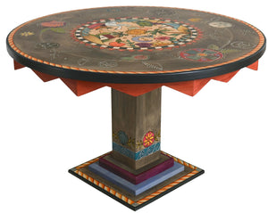 Sticks handmade dining table with folk art tropical theme