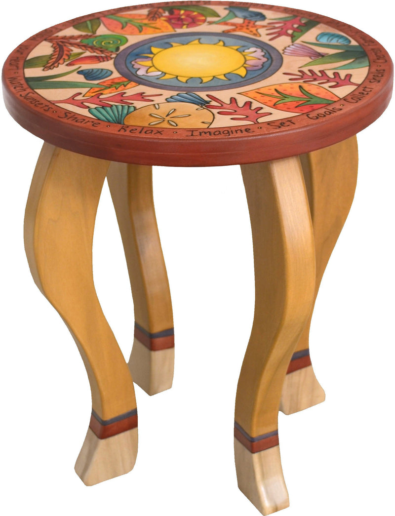 Round End Table –  Fun coastal end table with beach elements