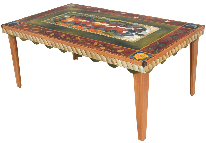 Rectangular Dining Table –  Lovely rectangular dining table with four seasons motifs