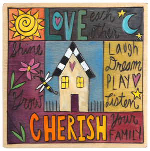 "Sticks handmade wall plaque with ""Love Each Other, Cherish Your Family"" quote and design motif"