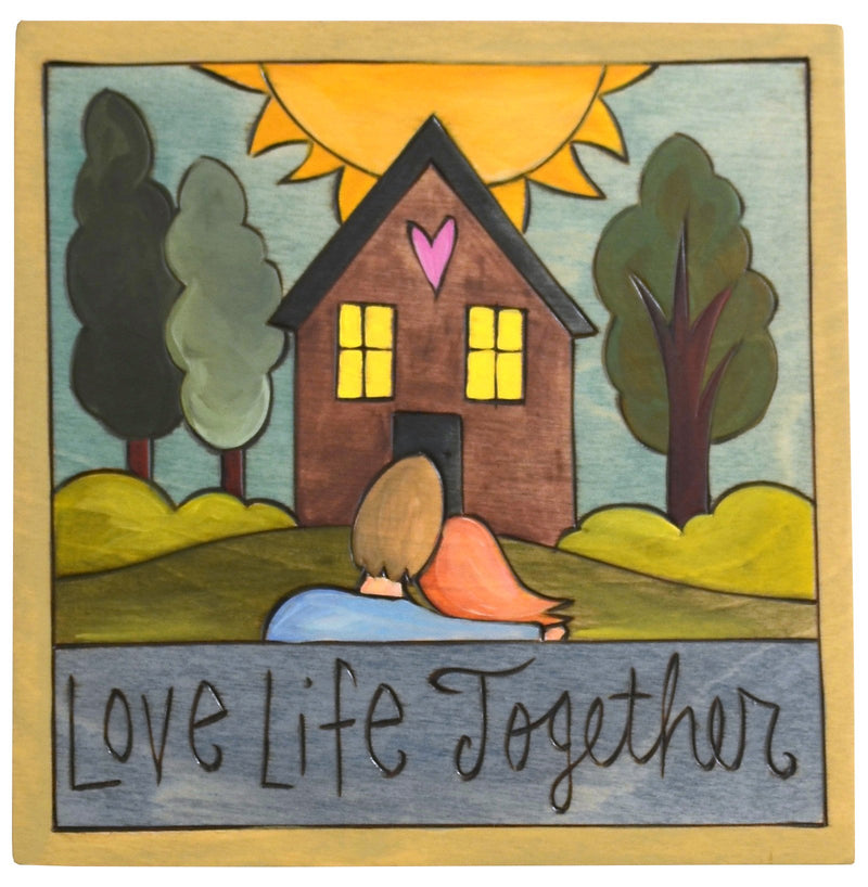 "Sticks handmade wall plaque with ""Love Life Together"" quote and couple imagery"