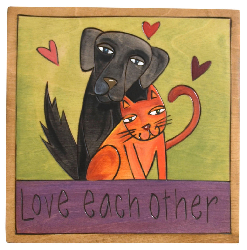 "Sticks handmade wall plaque with ""Love Eachother"" quote and dog and cat together"