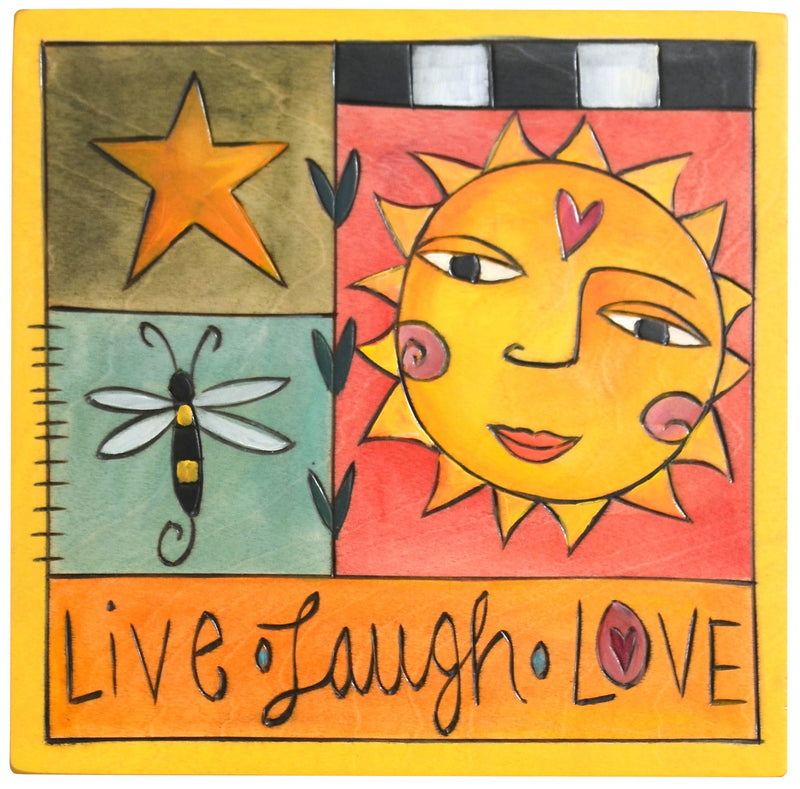 "Sticks handmade wall plaque with ""Live, Laugh, Love"" quote and sunny motif"