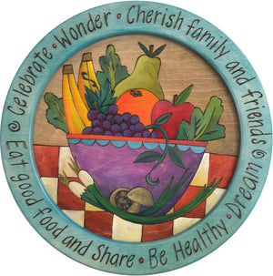 "16"" Round Tray –  Eat Good Food and Share round tray with fruit bowl motif"